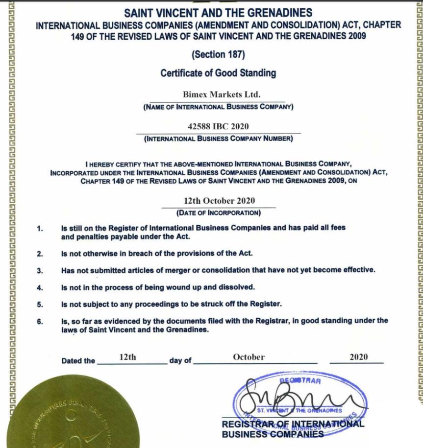 Документы, предоставленные этой компанией о том, что она зарегистрирована, зарегистрирована или имеет лицензию на Сент-Винсенте и Гренадинах, являются поддельными.