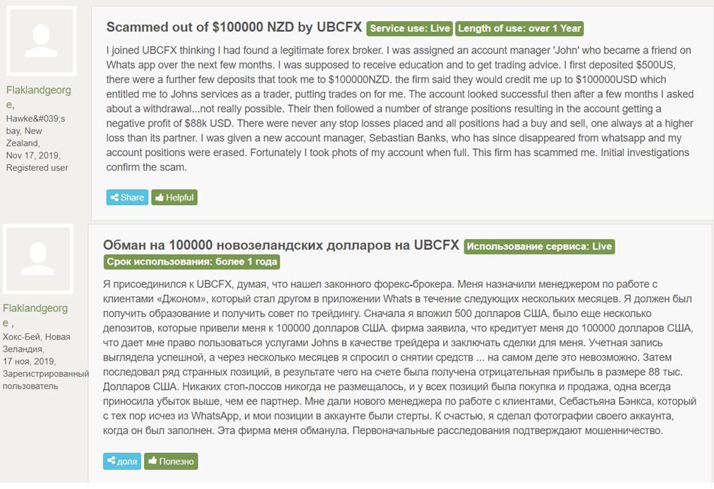 Отзывы про UBCFX