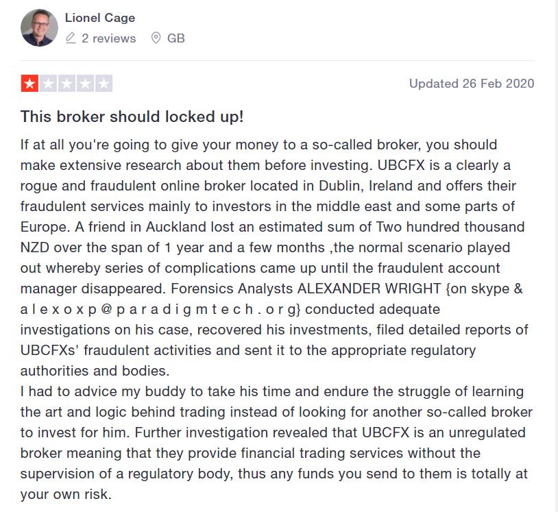 Англоязычный отзыв о работе с брокером UBCFX