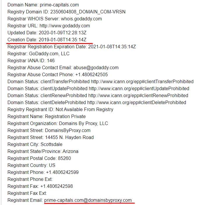 Когда был зарегистрирован домен Prime Capitals