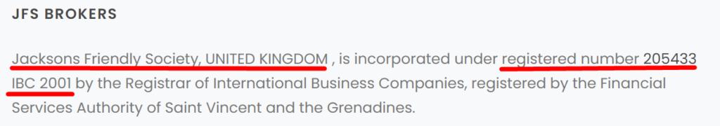 Брокер JFSBrokers.com украл регистрацию номером 205433 IBC 2001 у другой компании