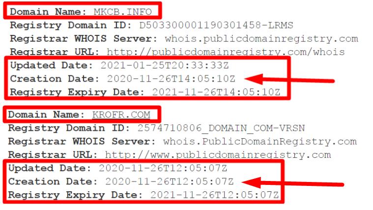 Регистрация доменов MKCB(mkcb.info) и KROFR(krofr.com)