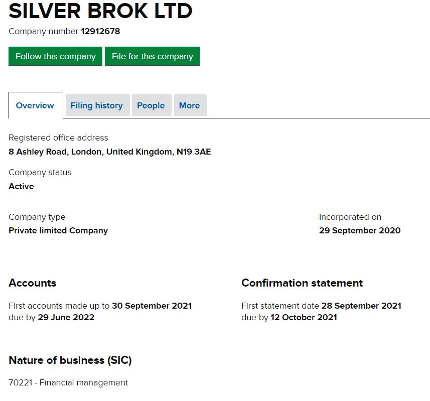 SILVER BROK LTD под номером 12912678 была зарегистрирована 29 сентября 2020 года