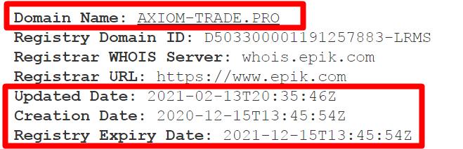 Информация о домене axiom-trade.pro