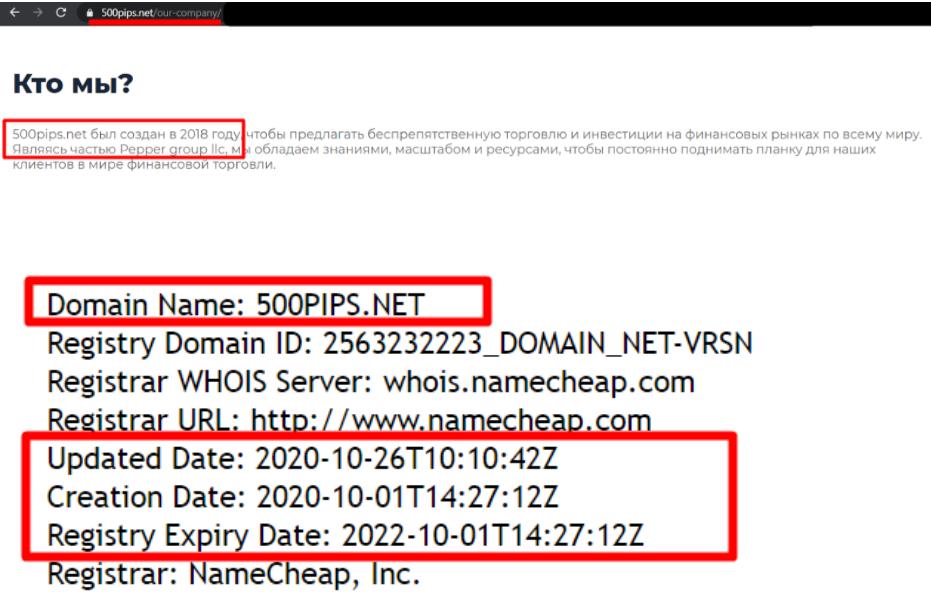 Информация о домене 500pips.net