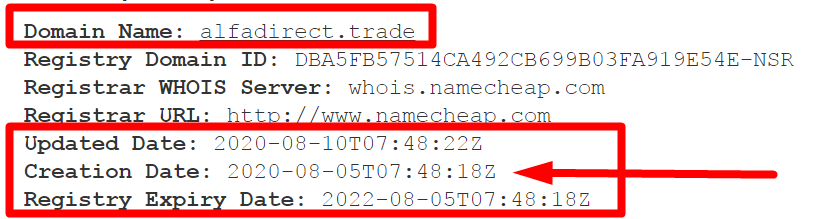 Сайт alfadirect.trade мошенники сделали 5 августа