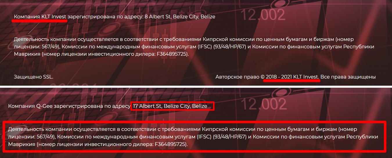 Фальшивые данные на сайте kltinvest.com