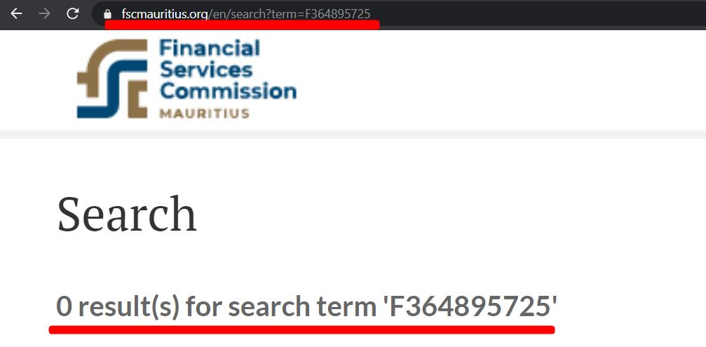 Отсутствие лицензии F364895725 на сайте комиссии по финансовым услугам Республики Маврикия.