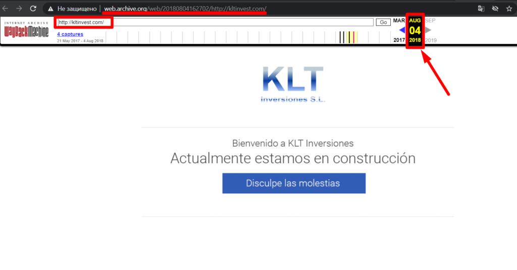 История сайта Kltinvest из вебархива
