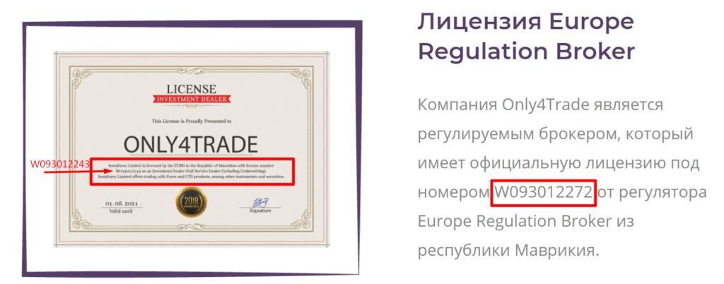 Only4trade украл данные чужой лицензии