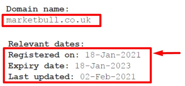 Дата регистрации домена Marketbull.co.uk