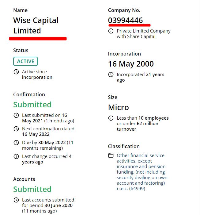 Настоящая компания WISE CAPITAL LIMITED Company