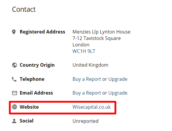 Настоящий сайт компании wisecapital.co.uk