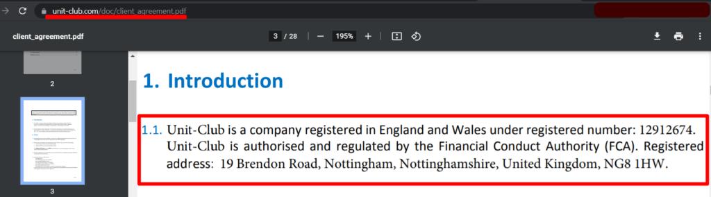 UnitClub - это компания под зарегистрированным номером 12912674