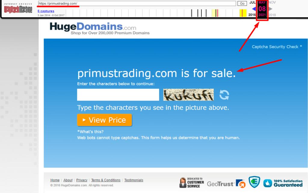 Информация про primustrading.com с сайта web.archive.org
