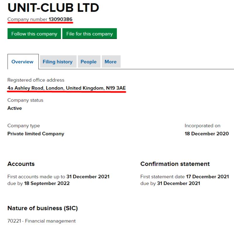 UnitClub LTD с номером регистрации 13090386.