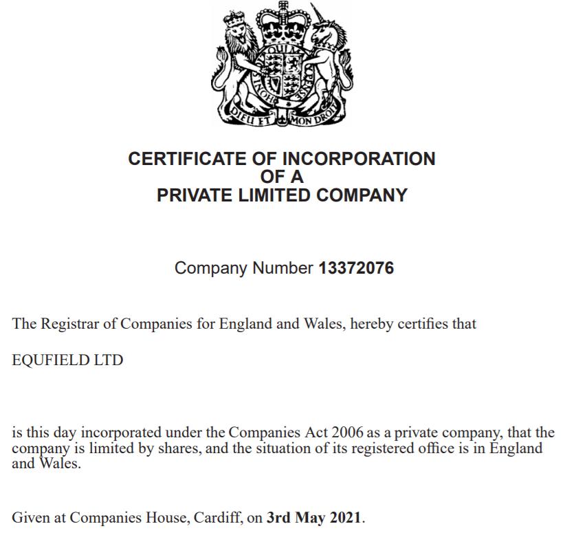 Украденная лицензия EQUFIELD LTD Company Number 13372076.