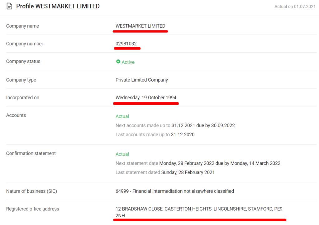 Westmarket Limited украли данные у реальной компании и выдают их за свои